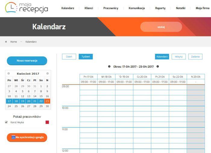 Kalendarz www Moja Recepcja